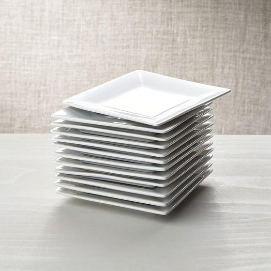 Juego de 12 platos para aperitivo de porcelana blanca en for Platos cuadrados de porcelana